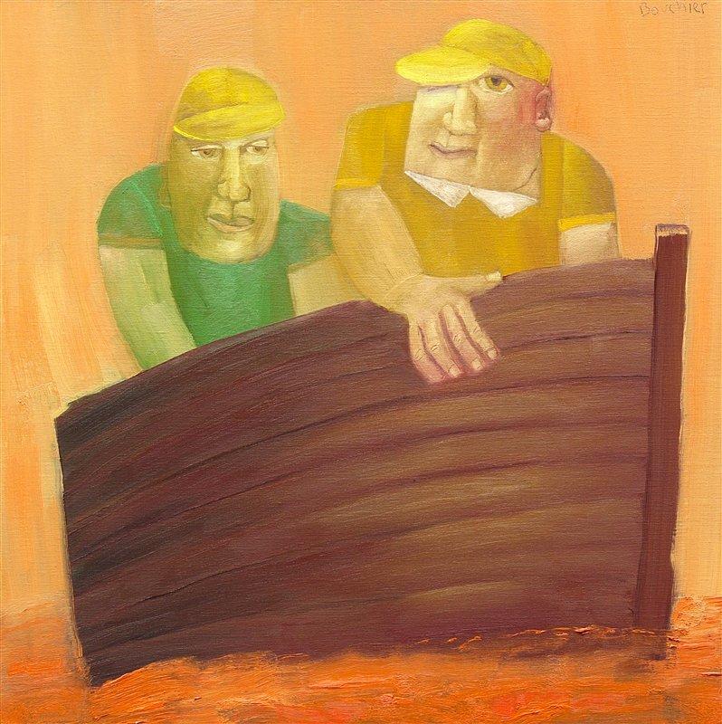 Twee mannen in boot