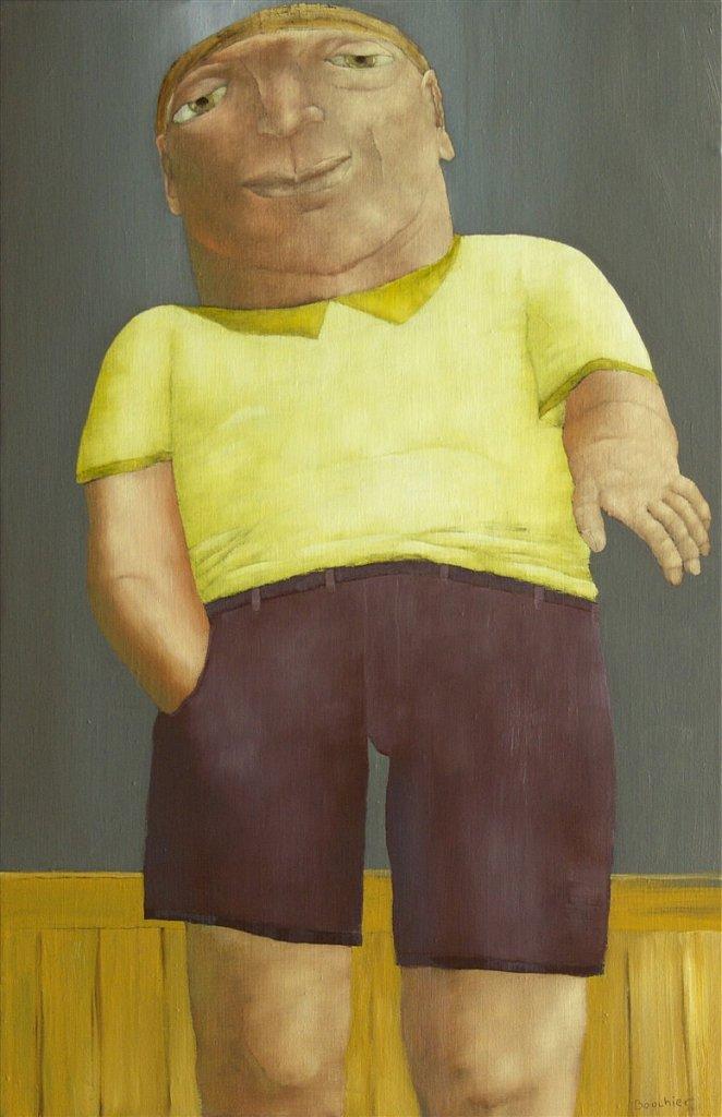 Figuur in gele shirt
