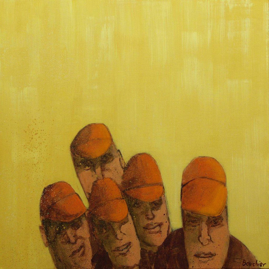 Koppen met oranje petten